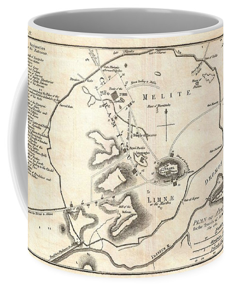This Is An Attractive 1784 Map Of Ancient Athens Coffee Mug featuring the photograph 1784 Bocage Map Of Athens Greece by Paul Fearn
