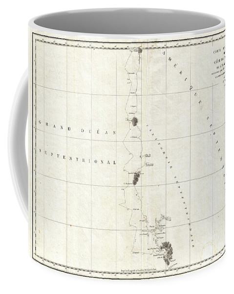 This Is A Fine Example Of La Perouse's Important 1787 Mapping Of The California And Oregon Coastlines From Port De Monterey (monterey Bay) Northwards Past The Port De St. Francois (san Francsico Bay) And Cape Mendocino To Cap Rond (tillamook Head Coffee Mug featuring the photograph 1786 La Perouse Map Of San Francisco Monterey Bay California And Oregon by Paul Fearn