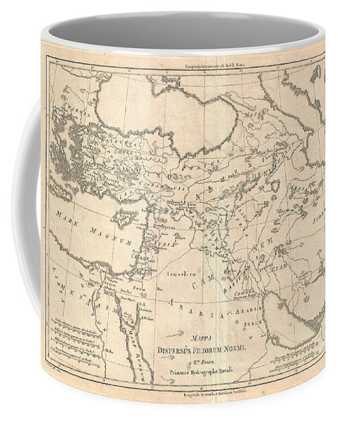 This Is A 1787 Rigobert Bonne Map Of The Dispersal Sons Of Noah. The Map Covers The Area Between Arabia Coffee Mug featuring the photograph 1787 Bonne Map Of The Dispersal Of The Sons Of Noah by Paul Fearn