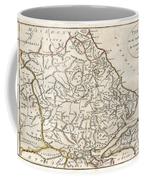 This Lovely Little Map Of Thessaly Coffee Mug featuring the photograph 1788 Bocage Map Of Thessaly In Ancient Greece by Paul Fearn