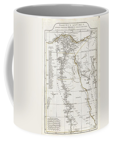 A Large And Dramatic 1794 J. B. B. D'anville Map Of Ancient Egypt Covers From The Nile Delta And Gaza South As Far As Aswan. Details Mountains Coffee Mug featuring the photograph 1794 Anville Map Of Ancient Egypt by Paul Fearn