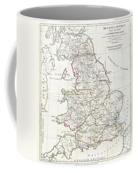 A Large And Dramatic 1794 Map Of England Under Roman Rule. Covers All Of England (province Of Britanniae) As Well As Adjacent Parts Of Scotland Coffee Mug featuring the photograph 1794 Anville Map Of England In Ancient Roman Times by Paul Fearn
