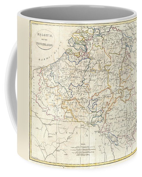A Fine 1799 Map Of Belgium And Parts Of The Netherlands By The English Map Publisher Clement Cruttwell. Focuses Mainly On The Modern Day Belgium. Includes The Dutch Regions Schowen Coffee Mug featuring the photograph 1799 Clement Cruttwell Map Of Belgium Or The Netherlands by Paul Fearn