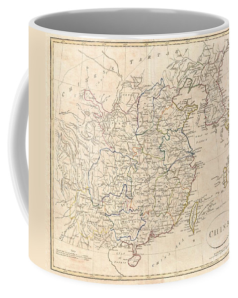A Fine 1799 Map Of China By The English Mapmaker Clement Cruttwell. Includes The Modern Day Provinces Of Sichuan (setchuen) Coffee Mug featuring the photograph 1799 Clement Cruttwell Map Of China Korea And Taiwan by Paul Fearn
