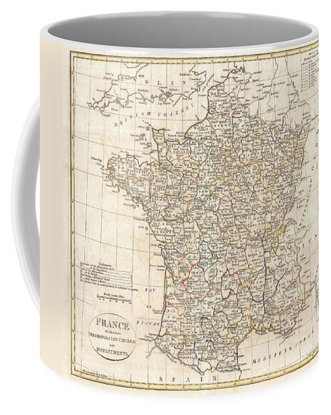 A Fine 1799 Map Of France Divided Into Metropolitan Circles And Departments By The English Map Publisher Clement Cruttwell. The French Department System Was Established On March 4th Coffee Mug featuring the photograph 1799 Clement Cruttwell Map Of France In Departments by Paul Fearn