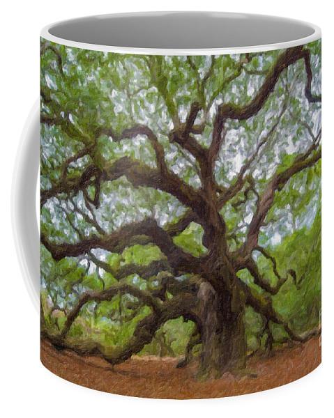Angel Oak Tree Coffee Mug featuring the digital art Southern Angel Oak by Dale Powell