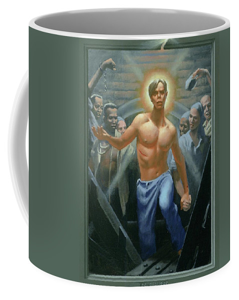 Jesus Coffee Mug featuring the painting 18. Jesus Rises / From The Passion Of Christ - A Gay Vision by Douglas Blanchard