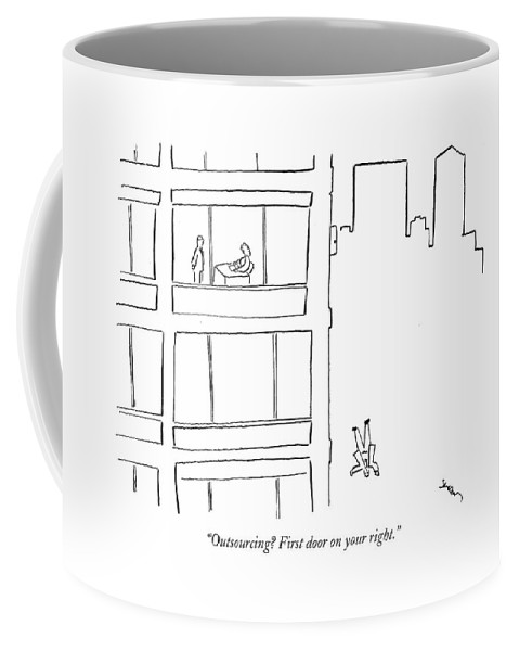 Word Play Unemployment Problems Downsizing Urban  (receptionist Directing Employees Out Of The Building.) 121017 Msh Michael Shaw Coffee Mug featuring the drawing Outsourcing? First Door On Your Right by Michael Shaw