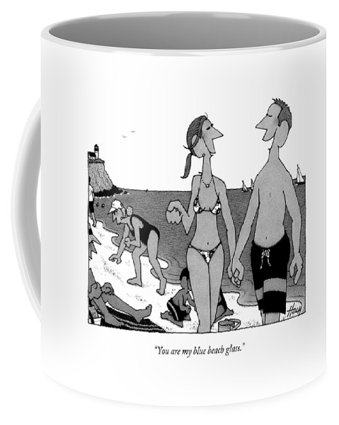 Beach Coffee Mug featuring the drawing You Are My Blue Beach Glass by William Haefeli