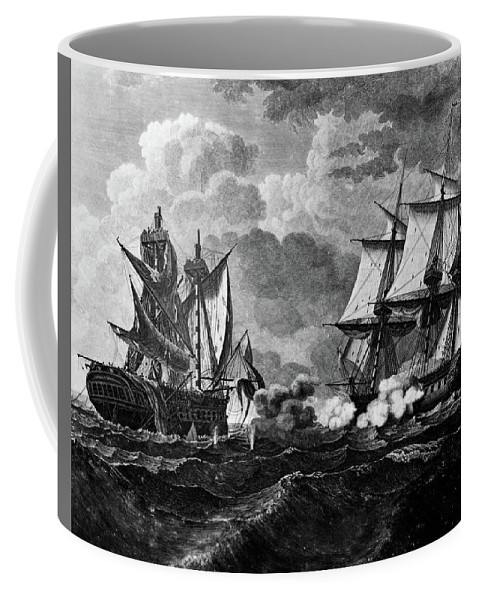 Horizontal Coffee Mug featuring the painting 1800s Us Frigate Uss United States by Vintage Images