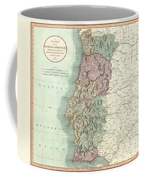 An Extremely Attractive Example Of John Cary's 1801 Map Of Portugal. Highly Detailed And Color Coded According To Region. All In All Coffee Mug featuring the photograph 1801 Cary Map Of Portugal by Paul Fearn