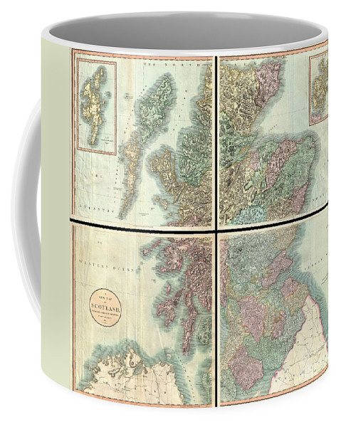 A Very Attractive Example Of John Cary's Stupendous Four Sheet 1801 Map Of Scotland. Covers The Entirety Of Scotland As Well As Parts Of Neighboring England And Ireland. Inset Maps Detail The Orkney Islands And The Shetland Islands. Offers Extraordinary Detail On The Whole Of Scotland With Special Attention To Topography Coffee Mug featuring the photograph 1801 Cary Map Of Scotland by Paul Fearn