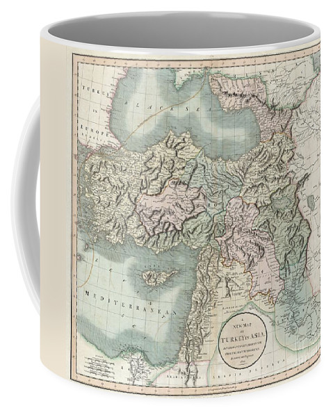 This Is A Stunning 1801 Map Of Turkey In Asia By English Cartographer John Cary. Depicts The Vast Regions In Asia Controlled By The Ottoman Empire At The Close Of The 18th Century. Includes The Modern Day Nations Of Turkey Coffee Mug featuring the photograph 1801 Cary Map Of Turkey Iraq Armenia And Sryia by Paul Fearn