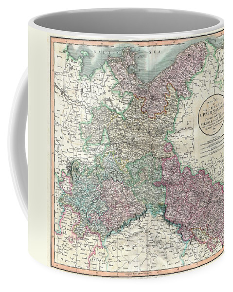 An Attractive Example Of John Cary's 1801 Map Of Upper Saxony Coffee Mug featuring the photograph 1801 Cary Map Of Upper Saxony Germany Berlin Dresden by Paul Fearn
