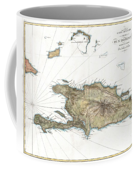 A Rare And Beautiful 1802 Map Of The West Indies Island Of Hispaniola Or Santo Domingo ( St. Domingue ) By Ambroise Tardieu. This Rare And Stunning Map Depicts The Island With All Of Tardieu's Glorious Hallmark Detail. Roads Coffee Mug featuring the photograph 1802 Tardieu Map Of Santo Domingo Or Hispaniola West Indies by Paul Fearn