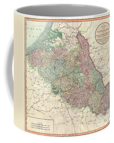 "Despite Being Entitled ""the Netherlands"" Coffee Mug featuring the photograph 1804 Cary Map Of Belgium And Luxembourg by Paul Fearn"