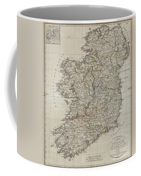 An Uncommon Map Of Ireland Dating To 1804. Though Published By The German Geographical Institute Coffee Mug featuring the photograph 1804 Jeffreys And Kitchin Map Of Ireland by Paul Fearn
