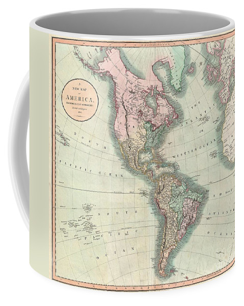 An Exceptionally Beautiful Example Of John Cary's Important 1806 Map Of North And South America. Covers The Entirety Of The Western Hemisphere With A Focus On North And South America. In North America The Fledgling United States Extends Westward Only So Far As The Mississippi River. Florida Is Divided At The Apalachicola River Into Eastern And Western Sections. West Florida Coffee Mug featuring the photograph 1806 Cary Map Of The Western Hemisphere North America And South America by Paul Fearn