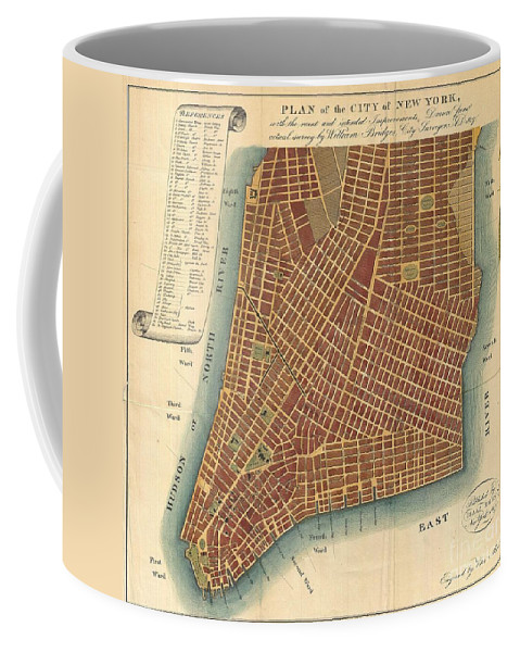 An Interesting And Unusual Map Coffee Mug featuring the photograph 1807 Bridges Map Of New York City by Paul Fearn