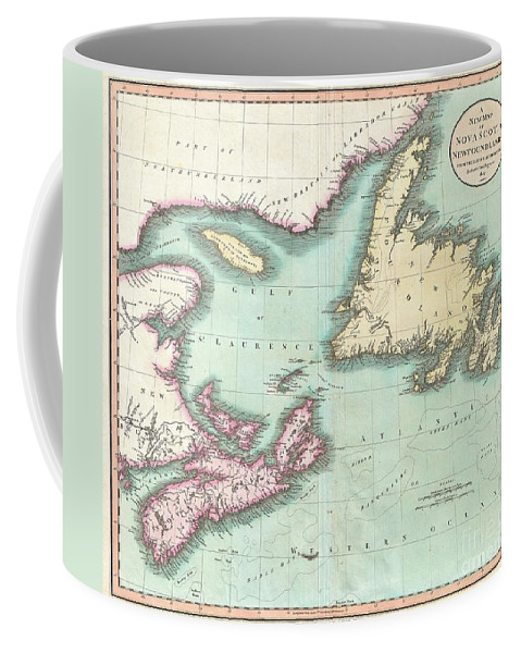 An Exceptionally Beautiful Example Of John Cary's Important 1807 Map Of Nova Scotia And Newfoundland. Covers The Maritime Provinces From New Brunswick And The Mouth Of The St. Lawrence Eastward As Far As Newfoundland. Shows Many Of The Offshore Cod Fishing Banks That Made This Area An Important Fishing Center For Hundreds Of Years. All In All Coffee Mug featuring the photograph 1807 Cary Map Of Nova Scotia And Newfoundland by Paul Fearn