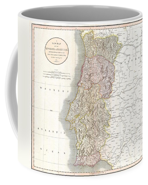 This Is A Stunning 1811 Map Of Portugal By The Important Late 18th / Early 19th Century Edinburgh Cartographer John Cary. Fully Depicts The Country And Its Various Regions. The Popular Resort Province Of Algarve Coffee Mug featuring the photograph 1811 Cary Map Of The Kingdom Of Portugal by Paul Fearn