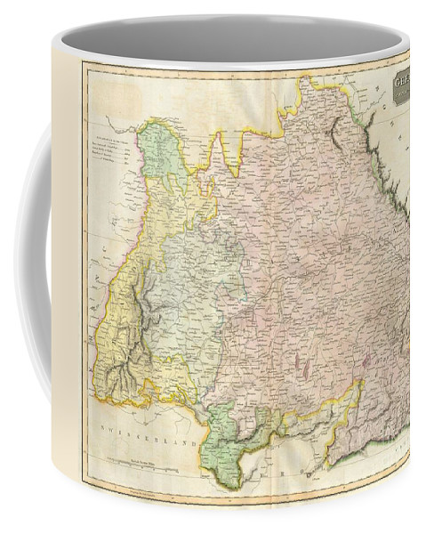 This Hand Colored Map Is A Steel Plate Engraving Coffee Mug featuring the photograph 1814 Thomson Map Of Bavaria Germany by Paul Fearn