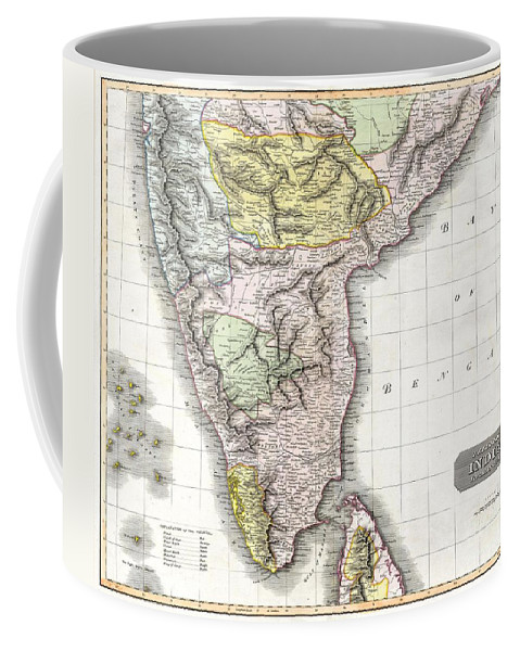 This Fascinating Hand Colored 1814 Map By Edinburgh Cartographer John Thomson Depicts Southern India. Covers From Bombay In The North To The Northern Part Of Ceylon Or Sir Lanka. Map Is Color Coded According To The Figures That Dominated Each Region. British Controlled Areas Are Red Coffee Mug featuring the photograph 1814 Thomson Map Of India by Paul Fearn