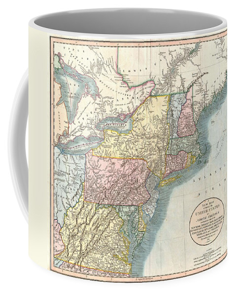 1821 Cary Map Of New England Coffee Mug featuring the photograph 1821 Cary Map Of New England New York Pennsylvania And Virginia by Paul Fearn
