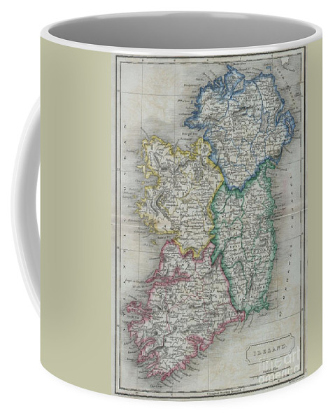: A Beautiful Hand Colored Map Of Ireland From Butler's 1822 School Geography Coffee Mug featuring the photograph 1822 Butler Map Of Ireland by Paul Fearn
