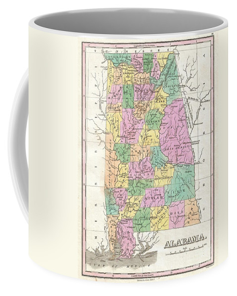 Beautiful Example Of Finley's Important 1827 Map Of Alabama. Depicts The State With Moderate Detail In Finley's Classic Minimalist Style. Shows River Ways Coffee Mug featuring the photograph 1827 Finley Map Of Alabama by Paul Fearn