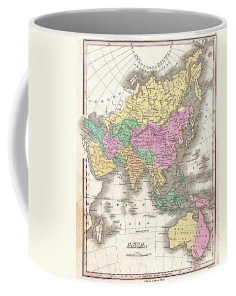 A Beautiful Example Of Finley's Important 1827 Map Of Asia. Depicts From The Black Sea And Arabia Eastward To The Behring Strait And Papua New Guinea. Includes Australia (new Holland) And The East India Islands With Asia Coffee Mug featuring the photograph 1827 Finley Map Of Asia And Australia by Paul Fearn