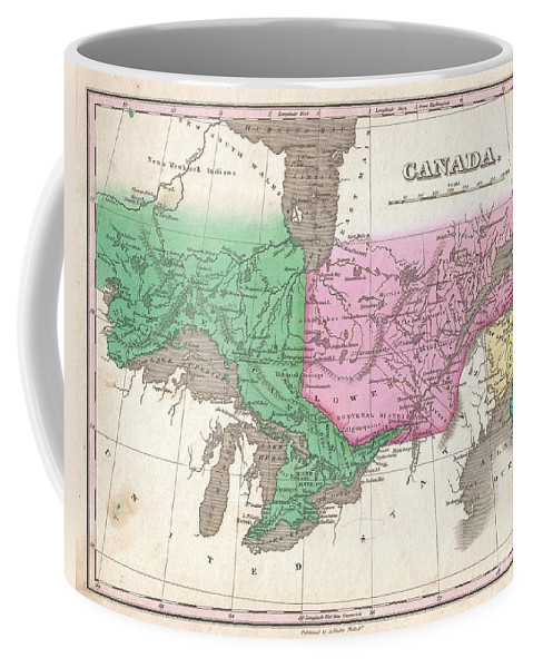 This Is Finley's Desirable 1827 Map Of Canada. Covers The Upper Canada (ontario) And Lower Canada (quebec) Coffee Mug featuring the photograph 1827 Finley Map Of Canada by Paul Fearn