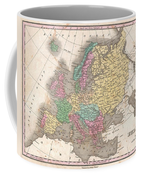A Beautiful Example Of Finley's 1827 Map Of Europe. Covers The Continent In Its Entirety From The Atlantic To The Caspian Sea And From The Arctic Ocean To The Mediterranean. Notes The Legendary And Semi-mythical Whirlpool Known As The Maelstrom (mahl Strom) In Northwestern Norway. In Finley's Classic Minimalist Style Coffee Mug featuring the photograph 1827 Finley Map Of Europe by Paul Fearn