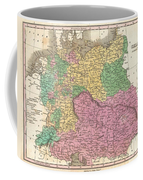 A Beautiful Example Of Finley's Important 1827 Map Of Germany. Depicts From The North And Baltic Seas South To The Gulf Of Venice. This Is A Map Of Greater Germania Coffee Mug featuring the photograph 1827 Finley Map Of Germany by Paul Fearn