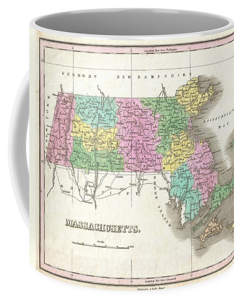 A Beautiful Example Of Finley's Important 1827 Map Of Massachusetts. Includes Nantucket And Marthas Vineyard. Depicts The State With Moderate Detail In Finley's Classic Minimalist Style. Shows River Ways Coffee Mug featuring the photograph 1827 Finley Map Of Massachusetts by Paul Fearn