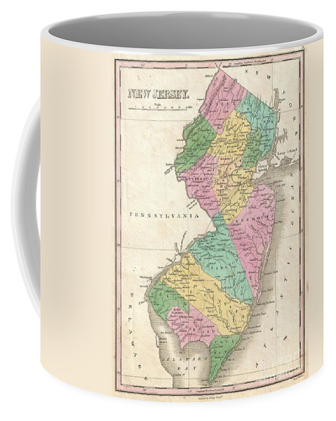 A Beautiful Example Of Finley's Important 1827 Map Of New Jersey. Depicts The State With Moderate Detail In Finley's Classic Minimalist Style. Shows River Ways Coffee Mug featuring the photograph 1827 Finley Map Of New Jersey by Paul Fearn