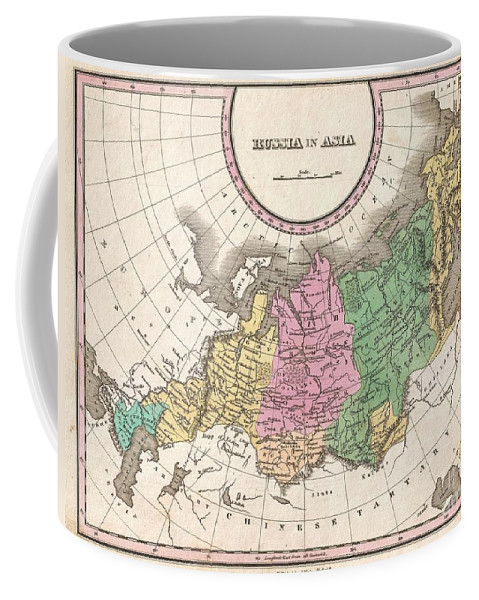 A Beautiful Example Of Finley's Important 1827 Map Of Russia In Asia. Depicts From The Black Sea And Arabia Eastward To The Behring Strait Coffee Mug featuring the photograph 1827 Finley Map Of Russia In Asia by Paul Fearn