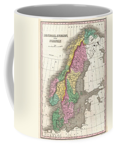 A Beautiful Example Of Finley's Important 1827 Map Of Scandinavia. Covers Norway Coffee Mug featuring the photograph 1827 Finley Map Of Scandinavia Norway Sweden Denmark by Paul Fearn