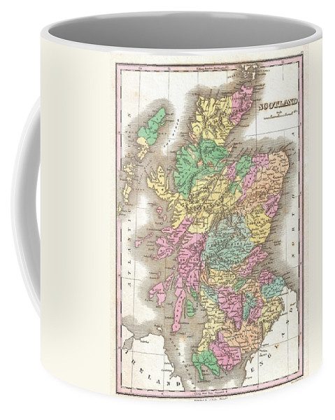 This Is Finley's Desirable 1827 Map Of Scotland. Shows River Ways Coffee Mug featuring the photograph 1827 Finley Map Of Scotland by Paul Fearn