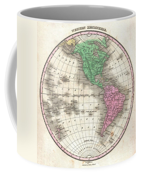 This Is Finley's Desirable 1827 Map Of The Western Hemisphere. Includes North America Coffee Mug featuring the photograph 1827 Finley Map Of The Western Hemisphere by Paul Fearn