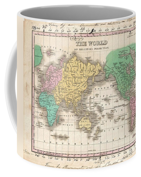 This Is Finley's Desirable 1827 Map Of The World. Covers The Entire World On A Mercator Projection. Identifies Deserts Coffee Mug featuring the photograph 1827 Finley Map Of The World by Paul Fearn