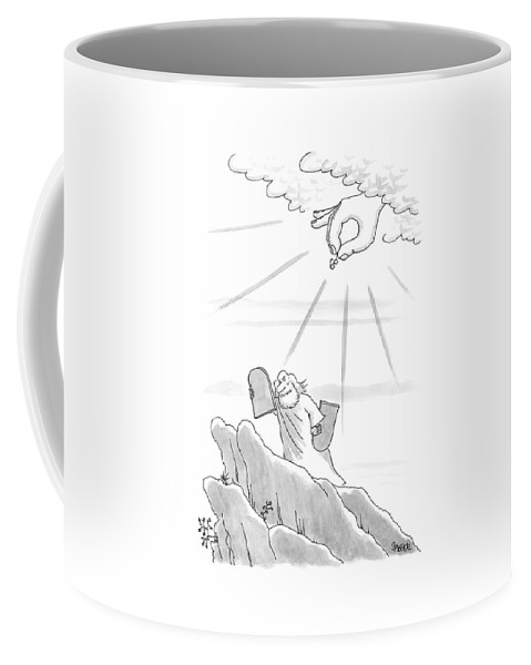 Moses Coffee Mug featuring the drawing New Yorker September 4th, 2000 by Jack Ziegler