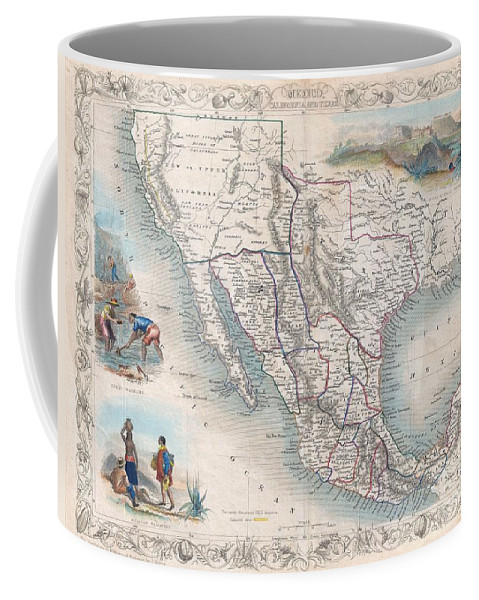 An Exceptional Example Of John Tallis And John Rapkin's Highly Desirable 1851 Map Of Mexico Coffee Mug featuring the photograph 1851 Tallis Map Of Mexico Texas And California by Paul Fearn