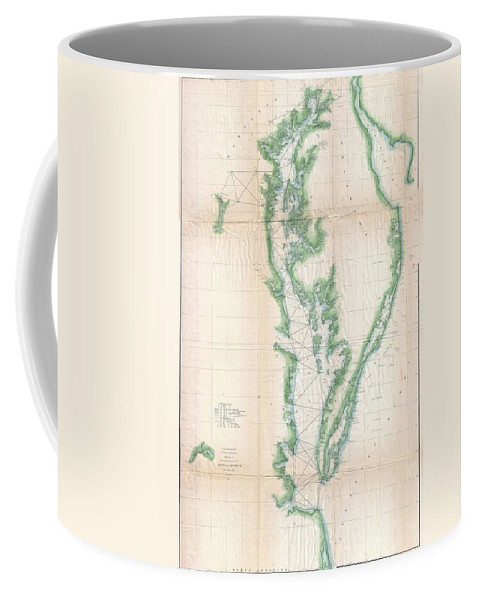 Coffee Mug featuring the photograph 1852 Us. Coast Survey Chart Or Map Of The Chesapeake Bay And Delaware Bay by Paul Fearn