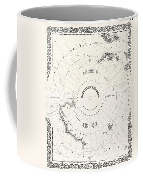 Coffee Mug featuring the photograph 1855 Colton Map Of Antarctica The South Pole Or The Southern Polar Regions by Paul Fearn