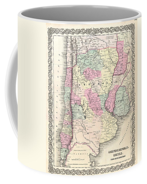 Coffee Mug featuring the photograph 1855 Colton Map Of Argentina Chile Paraguay And Uruguay by Paul Fearn
