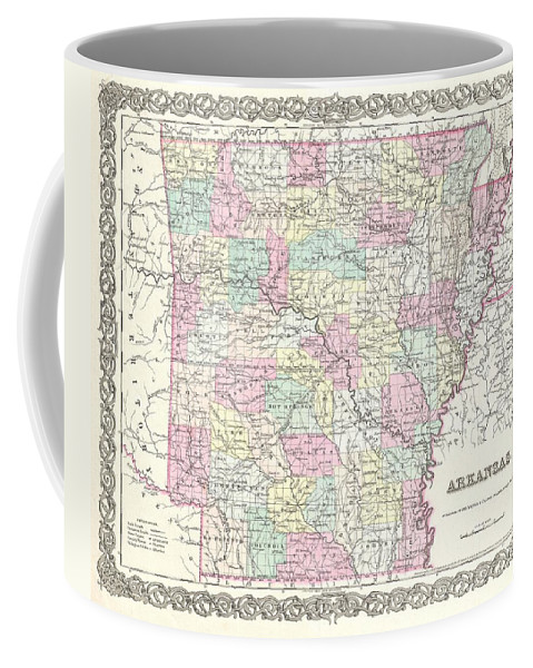 Coffee Mug featuring the photograph 1855 Colton Map Of Arkansas by Paul Fearn