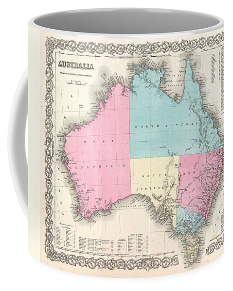 Coffee Mug featuring the photograph 1855 Colton Map Of Australia by Paul Fearn