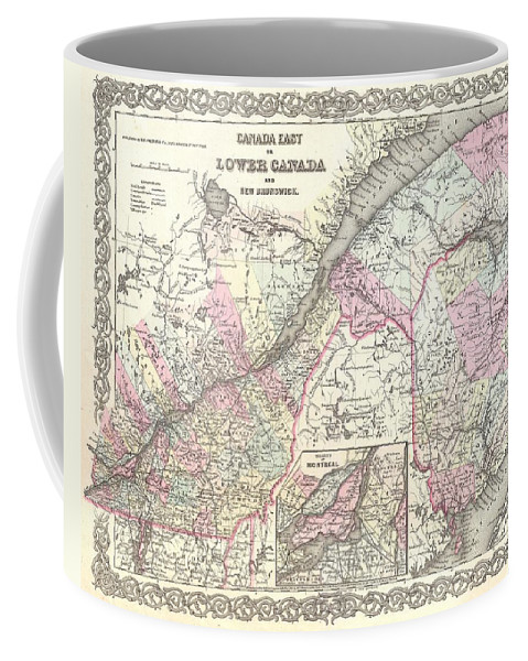 Coffee Mug featuring the photograph 1855 Colton Map Of Canada East Or Quebec by Paul Fearn