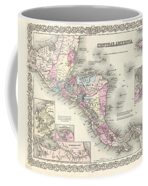 Coffee Mug featuring the photograph 1855 Colton Map Of Central America And Jamaica by Paul Fearn
